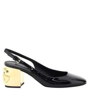 Dolce & Gabbana Black Patent Leather Karol Slingback Size IT 39