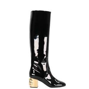 Dolce & Gabbana Black Patent Leather And Gold DG Karol heel Boots Size 37.5