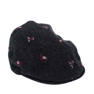 Dolce & Gabbana Grey Floral Embroidered Tweed Flat Cap