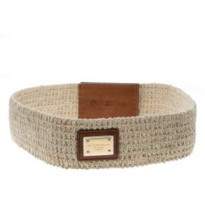 Dolce & Gabbana Beige/Brown Fabric Elastic Belt 80cm