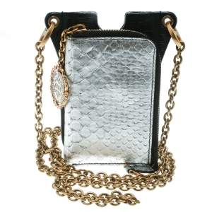 Dolce & Gabbana Black/Metallic Silver Leather Phone Case