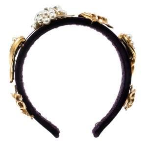 Dolce & Gabbana Purple Velvet Faux Pearl Embellished Gold Tone Headband