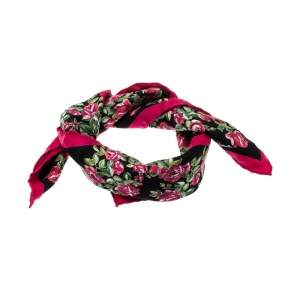 Dolce & Gabbana Black and Pink Rose Printed Silk Square Scarf