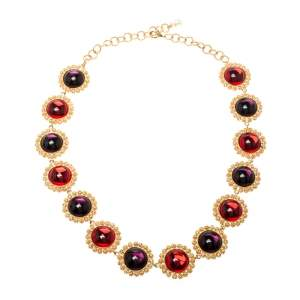 Dolce & Gabbana Multicolor Resin Filigree Beaded Gold Tone Necklace
