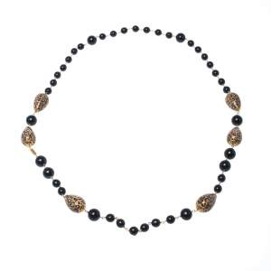 Dolce & Gabbana Printed Beaded Gold Tone Long Necklace
