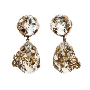 Dolce & Gabbana Crystal Gold Tone Tear Drop Long Clip-on Earrings