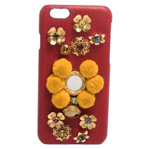 Dolce & Gabbana Red/Mustard Embellished Leather iPhone 6 Case