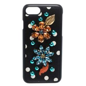 Dolce & Gabbana Black/White Polka Dots Leather Crystal Embellished iPhone 7 Case