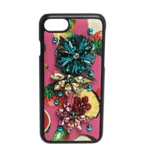 Dolce & Gabbana Multicolor Fruit Print Leather Crystal Embellished iPhone 7 Case