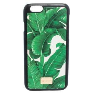 Dolce & Gabbana Green/White Banana Leaf Print Leather iPhone 6 Case