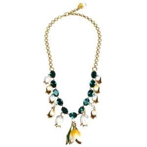 Dolce & Gabbana Multicolor Tulip Enamel Crystal Charm Gold Tone Necklace