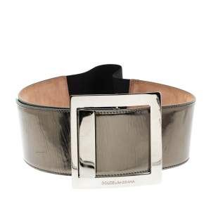 Dolce & Gabbana Gunmetal Laminated Leather Elastic Wide Waist Belt 90CM