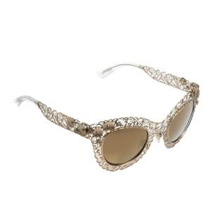 Dolce & Gabbana Gold/Gold Mirrored DG2134 Filigrana Cat Eye Sunglasses