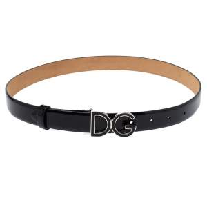 Dolce & Gabbana Black Patent Leather DG Buckle Belt Size 75 CM