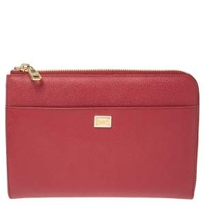 Dolce & Gabbana Red Grained Leather Zip iPad Case