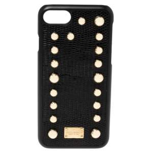 Dolce & Gabbana Black Lizard Embossed Leather Studded iPhone 7 Cover