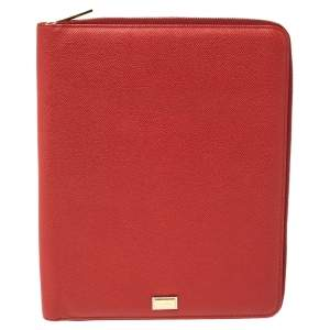 Dolce & Gabbana Red Leather Agenda Organizer