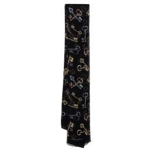 Dolce & Gabbana Black Key Print Chiffon Silk Scarf