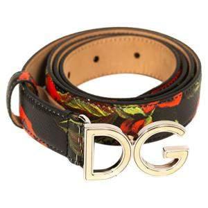 Dolce & Gabbana Floral Logo Belt Size 85 CM