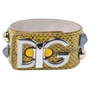 Dolce & Gabbana Logo Python Three Tone Metal Leather Bracelet L