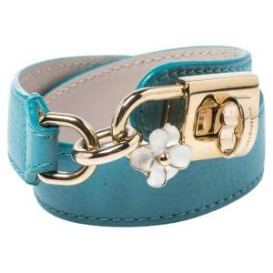 Dolce & Gabbana Teal Leather Lock Motif Gold Tone Wrap Bracelet
