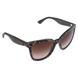 Dolce & Gabbana Black/Brown DG4190 Gradient Leopard Print Cat Eye Sunglasses