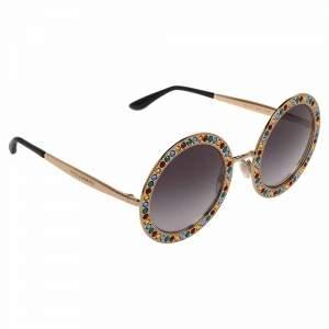 Dolce & Gabbana Gold Gradient Mambo Capri DG2170 Jewel Embellished Round Sunglasses