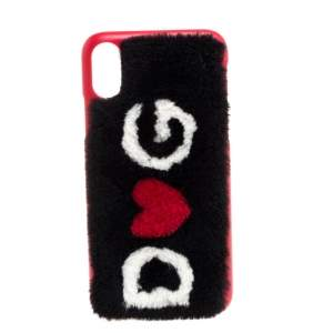 Dolce & Gabbana Black/Red Fur Logo Plaque iPhone X Cover