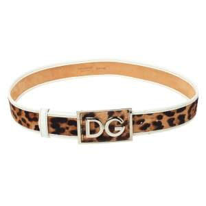 Dolce & Gabbana Brown/White Animal Print Calf Hair and Leather Trim Belt Size 80CM