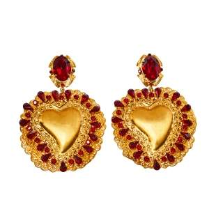 Dolce & Gabbana Red Crystal Sacred Heart Drop Clip On Earrings