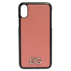 Dolce & Gabbana Pink/Black Leather Crystal Embellished Logo iPhone X Cover
