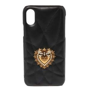 Dolce & Gabbana Black Leather Sacred Heart iPhone X Cover