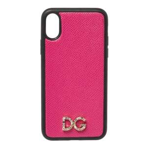 Dolce & Gabbana Pink/Black Leather Crystal Embellished Logo iPhone X Case