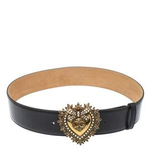 Dolce & Gabbana Black Leather Devotion Heart Buckle Belt 80cm