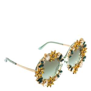 Dolce & Gabbana Crystal Embellished Sunflower/ Green Gradient DG 4369 B-H Round Sunglasses
