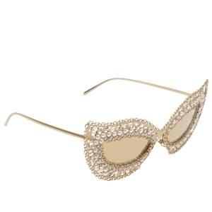 نظارة شمسية دولتشي أند غابانا عين قطة دي جي 2238- أتش عاكسة ذهبية/ فيليغري دانتيل لؤلؤ وذهبية