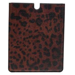 Dolce & Gabbana Copper/Black Leopard Print Coated Canvas P2 Tablet Case