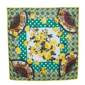 Dolce & Gabbana Multicolor Multiprint Silk Square Scarf