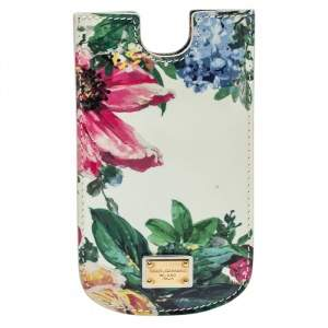 Dolce & Gabbana White Floral Print Patent Leather IPhone 5 Case