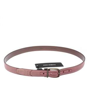 Dolce & Gabbana Pink/Dark Brown Leather Reversible Belt 95 CM
