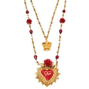 Dolce & Gabbana Red Enamel Sacred Heart Double Strand Necklace