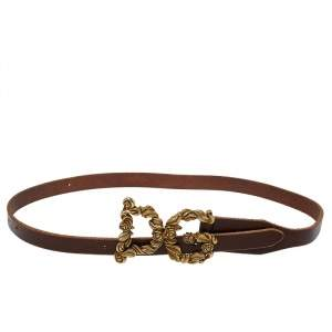 Dolce and Gabbana Brown Leather Baroque Logo Buckle Belt 105 cm