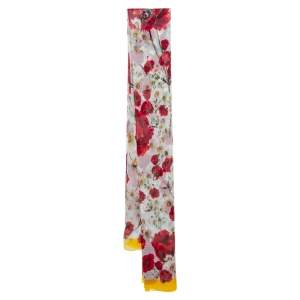 Dolce & Gabbana White Daisy & Poppy Print Silk Crepe Shawl