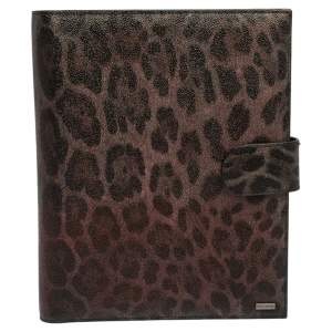 Dolce & Gabbana Multicolor Leopard Print Leather Tablet 2 Case