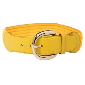 Dolce & Gabbana Yellow Leather and Straw Elastic Waist Belt 70 CM