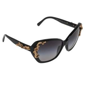 Dolce & Gabbana Black Acetate Sicilian Baroque Gradient Sunglasses