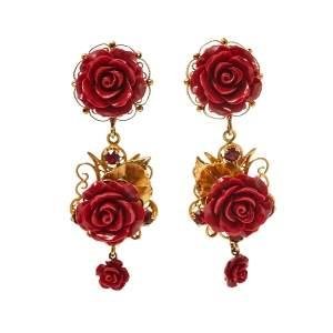 Dolce & Gabbana Rose Crystal Embedded Clip-On Drop Earrings