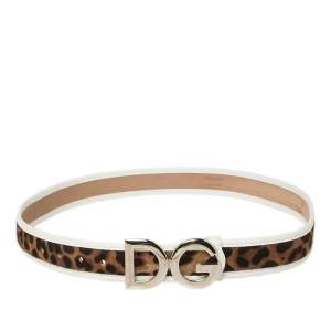 Dolce & Gabbana Brown/White Leopard Print Calf Hair And Leather Buckle Belt 85 CM