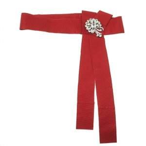 Dolce & Gabbana Red Grosgrain Embellished Bow Waist Belt Size 38