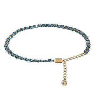 Dolce & Gabbana Blue Braided Leather Gold Tone Chain Belt